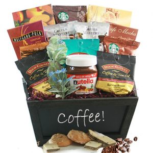 coffee lover's gift basket ideas with nutella. Picture of coffee basket with Nutella Jar and cookies.