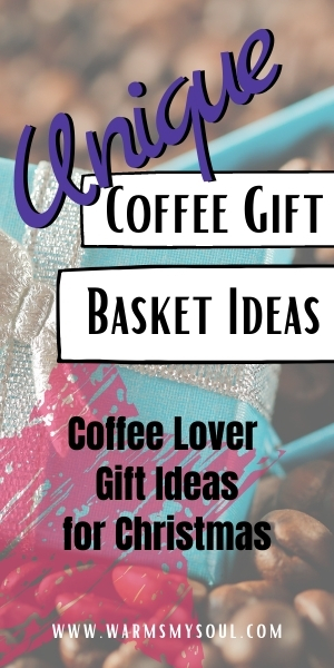 Coffee gift basket ideas - pinterest image - small blue gift box filled with coffee beans.