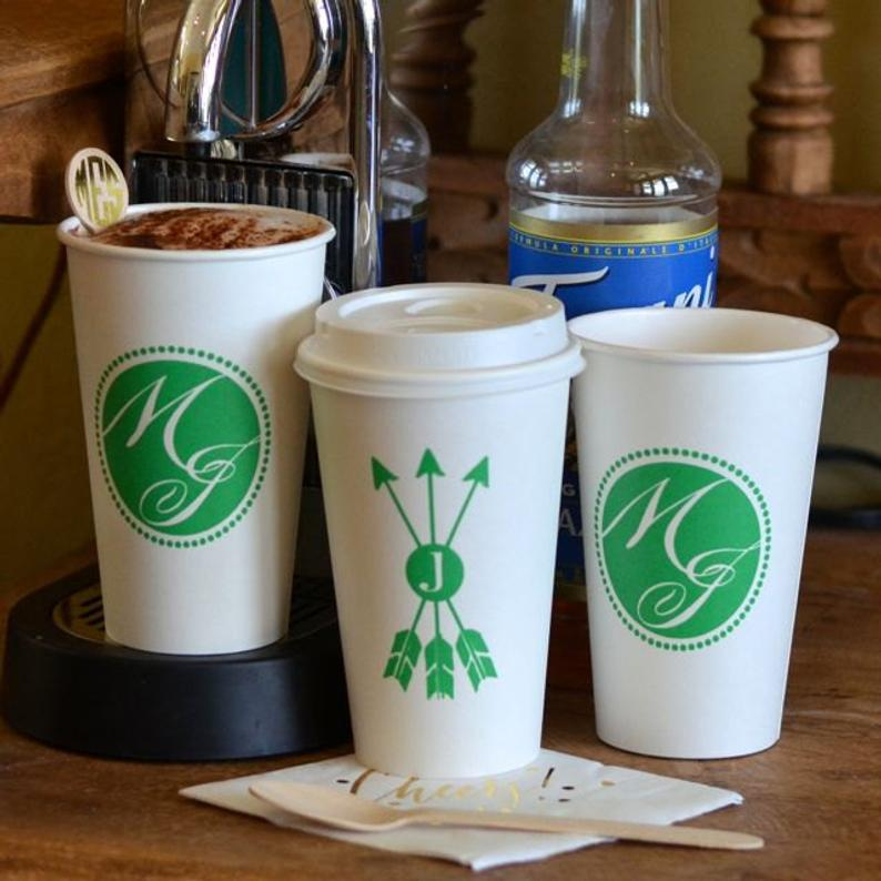 custom printed paper cups, image of custom paper cups with green logos.
