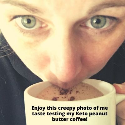 me sipping and taste testing my sugar-free keto peanut butter coffee recipe