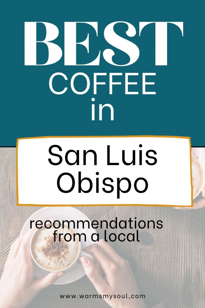 Photo from above of hands holding white coffee mug on plate with gourmet coffee, on wooden table. Best coffee in San Luis Obispo SLO